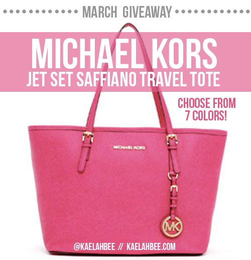 !!! MARCH'S GIVEAWAY: Enter to win a Michael Kors Jet Set tote (worth $229) in your choice of color! [Reblogging this counts as an entry — just be sure to follow the rules + submit your entries at KaelahBee.com so they'll count!] GOOD LUCK! xo Choose from these colors: luggage // white // navy // tangerine // zinnia // black // citrus
