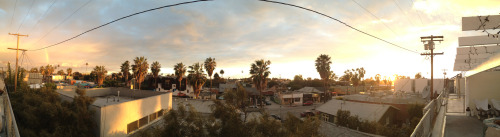 "kellyegan:  How Venice Does ""rainstorm"": rainbow to the left, sunset to the right.   Snapped from the patio at Giant Media."