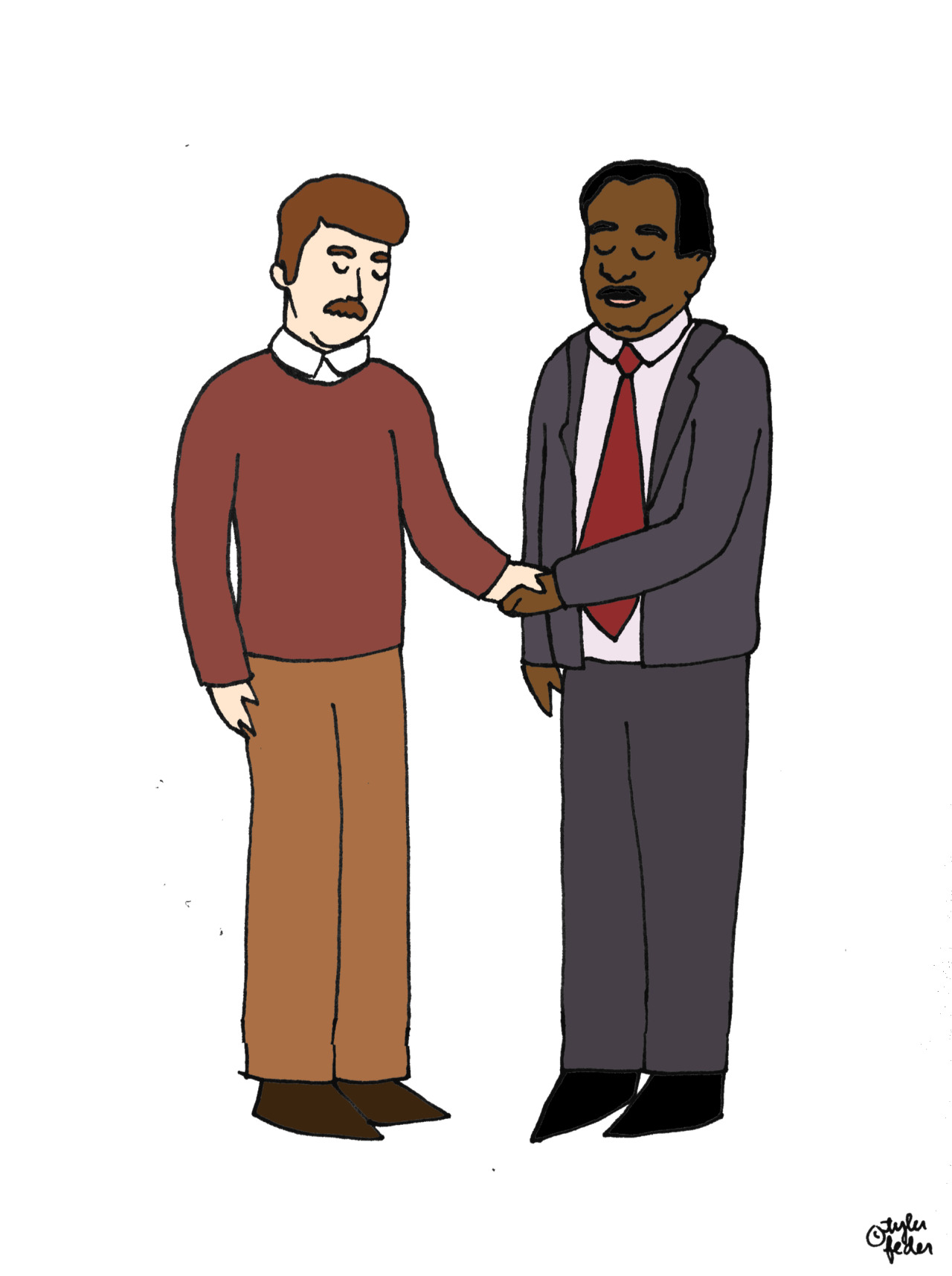 Ron Swanson and Stanley Hudson shaking hands for lime-fishes.  The most solemn handshake ever. (by Tyler Feder)