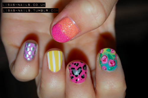 Mix and match nail art.