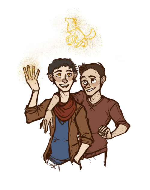 stiles and merlin being bros commissioned by stalkersidekick~ they'd be bffs