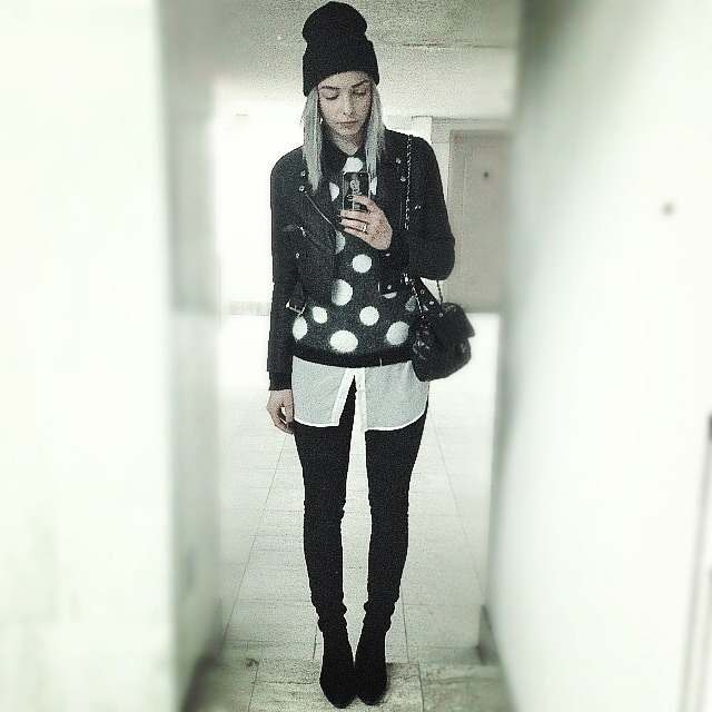 Wearing: Cropped leather jacket by Hellz Bellz, H&M mohair polka dot sweater, American apparel collared blouse, Acne jeans, Vintage Quilted Chanel bag, Vintage pony hair boots, and American apparel beanie (taken with instagram)
