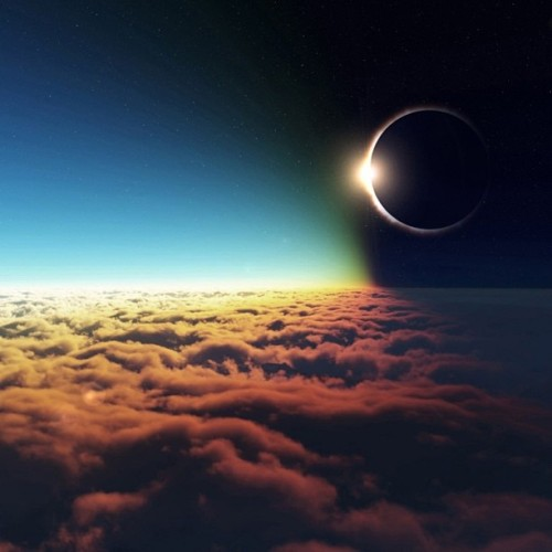 9gag:  Solar eclipse above clouds 🌘