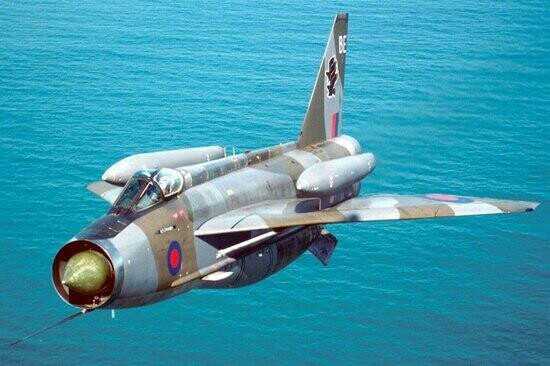 RAF Lightning interceptor aircraft with exteranl fuel tanks over the wings