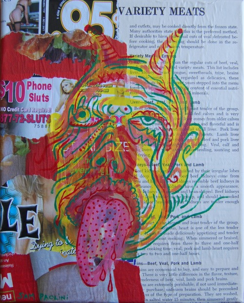 Yummy (or) Meat, collage & painting, 2013. For sale here.