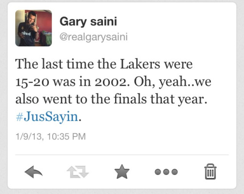 desired-simplicity:  True story! Keep hating! #LetsGoLakers!! We believe!!