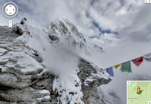 "Google Maps:  Mt. Everest, Mt. Kilimanjaro, Mt. Elbrus and Aconcagua — now on Street View!  You can take a virtual hike up these towering mountains while being able to ""turn your head"" around each point to get a look at the view! You can even explore the base camps and for some, go into the tents and monasteries. I also had trouble finding the street view by directly going to google maps and searching the specific mountain. I had to just use the links provided on Google's blog. Not sure if it's because they haven't updated the paths yet or I'm just going about it incorrectly."