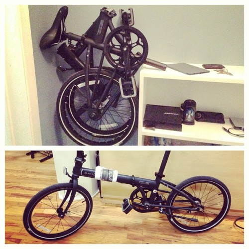 I GOT A NEW BICYCLE! It's a folding bike since I don't have the room for much else. It's matte black and a very simple fixie!  (at Nick's Shack Pad)