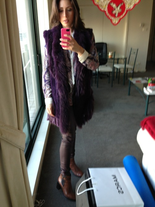 Today's look for my new gig. #wishmeluck #fur #paisley #waxydenim