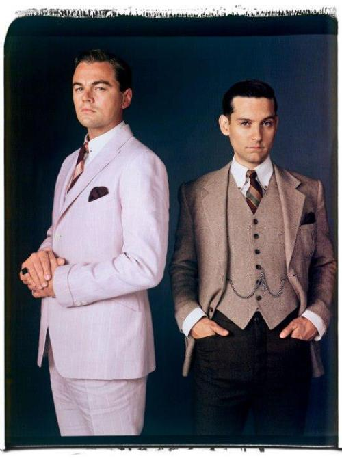 gatsbymovie:    Our dashing gents, Jay Gatsby (Leonardo DiCaprio) and Nick Carraway (Tobey Maguire), in Vanity Fair. http://vnty.fr/143YT6X