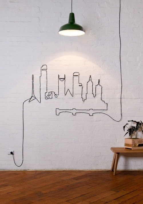 designed-for-life:  How clever is this extension cord skyline display! No need to hide your extension cords anymore.