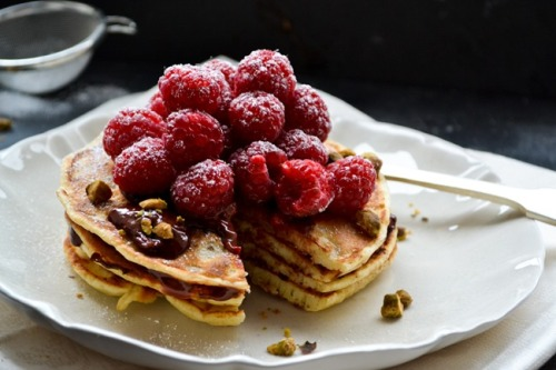 cookie crumb spelt pancakes with a luscious raspberry-chocolate ganache click here for recipe