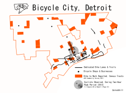 "Map of Bicycle City, Detroit I've noticed a larger amount of articles talking about Detroit becoming a bicycle city. Beyond the influx of young people and hipsters, I see many Detroit residents outside of the Midtown/Downtown areas using their bicycles to get around the city. Where there is an inadequate transportation system and personal cars potentially add to economic hardship, bicycles are fairly prevalent. It's unclear how many people actually use bicycles as their primary mode of transportation, but there is definitely a strong history of bicycles in Detroit. Dodge first made bicycles and Ford made his first ""car,"" the quadricycle out of bicycle parts.  @DaveAtBicycling: Bruce Katz of @brookingsinst says bike manufacturer's presence in downtown Detroit is ""the future of America."" #nbs13"