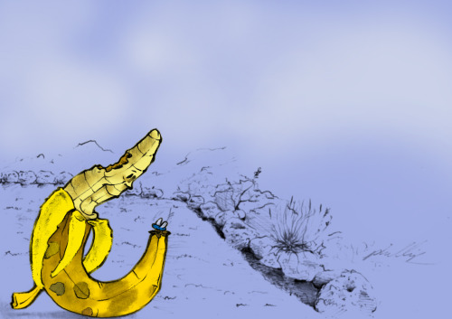Banana and fly. Me playing around with my drawings.
