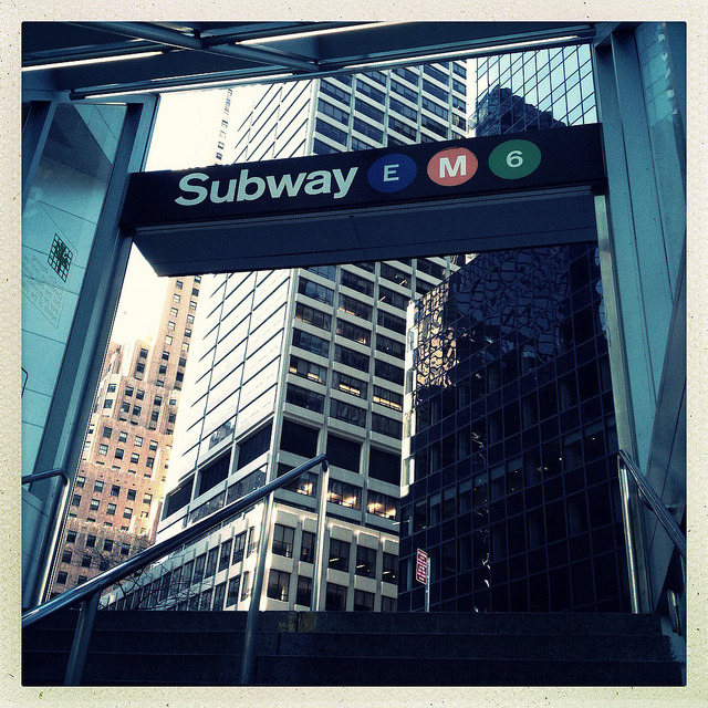 Lexington Avenue/51st Street Station on Flickr.On President's Day, I had to go to work and the 7 wasn't running all the way into the city, so I took the E to Lex, thinking I could get the 6 down to Grand Central. Turns out, there were no downtown trains at 51st (downtown trains were running express that day), so I just left the station and walked to work (it's really not that far). The station was actually not so crowded since most people were off from work.