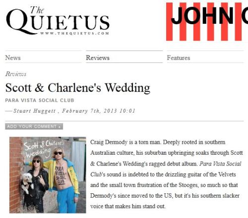 Great review of Scott & Charlene's Wedding in The Quietus! 'Scott & Charlene's Wedding pull off the trick of playing every song like it's the first time.' Read the whole review here: http://thequietus.com/articles/11338-scott-charlenes-wedding-para-vista-social-club-review