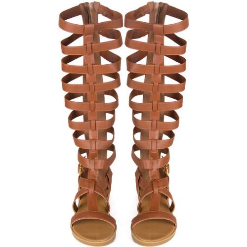 polyvore fashion shoes sandals tall shoes roman sandals light brown shoes greek sandals gladiator sandals