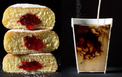"laughingsquid:  Cut Food, Photo Series of Foods Cut Neatly in Half  Missed opportunity. The piece should have read: ""The cut soups and beverage photos were created not with digital trickery but with gelatin thickery."" *rimshot* Also. *breakfast*"