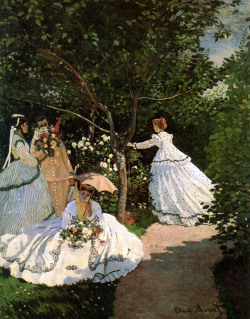 "Women in the Garden. Claude Monet, 1866 Monet's technique of ""en plein air"" painting was hard at work on this painting. Because it necessitated that he work from the same point of view as he painted, he dug a trench for the bottom half of the painting to sit in while he painted the top, due to its large size (it measures 100 by 81 inches). His model for the women of the painting was Camille Doncieux, who would later become his wife, bearing him two sons. To finish the dresses in the most fashionable style, Monet used magazine illustrations to render the clothing.  ~Wikipaintings"