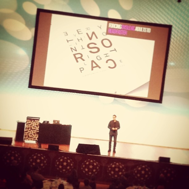 Make you read faster :-) #webstock @aza (at Wellington Town Hall)
