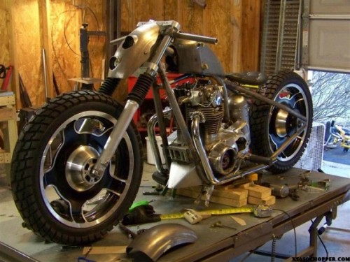 Was checking out the XS650 Chopper site for a particular build I was tld was on there. I had to scroll through a lot of bikes to find what I was looking for. As each bike came up on my screeen, my thoughts were… CRAP! Made by a blind person (apologies to blind people, you could make a much better looking bike) Rubbish What has been seen cannot be unseen Yawn… Shithouse What the hell were they thinking? I was about to close the page when I came across this amazing bike. Of course it's a love it or hate it type bike and I absolutely love certain aspects about it. Namely the wheels (anyone know what they are off?) and bikini fairing. Go to the site for the full story and the rest of the pics.