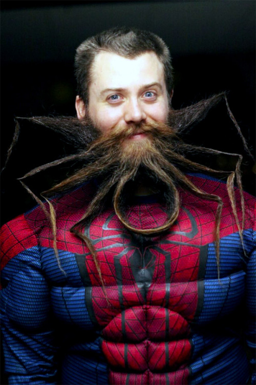 This incredibly awesome Spider-Man beard belongs to Chad Roberts, who recently won at the 2nd Annual Garden State Beard & 'Stache Competition held by The Garden State Beard & Mustache Society at Asbury Lanes in Asbury Park, New Jersey. [via Obvious Winner]