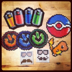 PixelMelt Etsy shop products thus far!! Check out our new mustache icons! #beadsprite #mustache #battery #icon #geeky #geek #switch #colorful #pokemon #etsy #design #arts