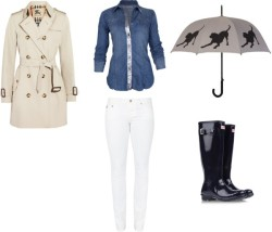 Rainy day staples: trench + rain boots   BLANK metallic shirt/ Burberry double breasted trench coat / AG Adriano Goldschmied embroidered jeans/ Hunter small heel shoes / Black umbrella  me