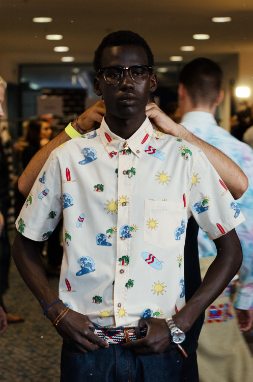 meninthistown:  Backstage at Vanishing Elephant S/S 13/14.