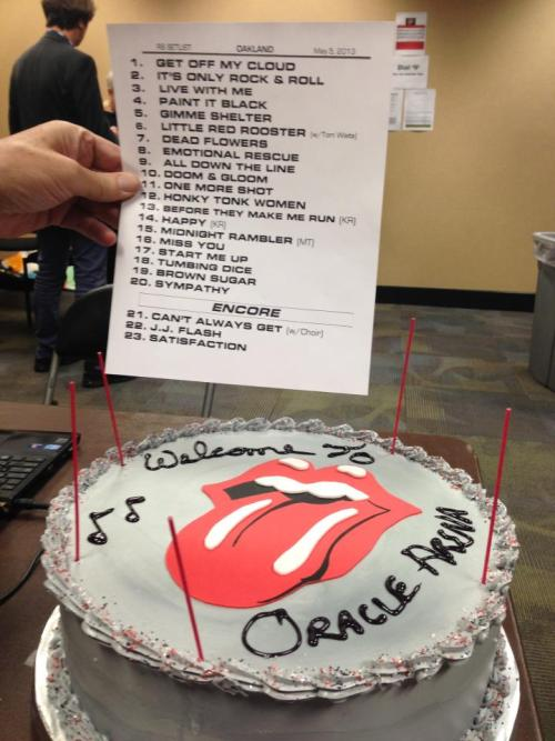 rollingstonesofficial:  Oracle Arena, Oakland: May 5 2013 SET LISTTonight the Rolling Stones played the second show of their 50 & Counting tour at Oakland's Oracle Arena. They were joined on stage by Tom Waitss for the blues classic 'Little Red Rooster', Mick Taylor for 'Midnight Rambler', and the San Jose State University Choraliers accompanied 'You Can't Always Get What You Want'.Get Off Of My CloudIt's Only Rock 'N' Roll (But I Like It)Live With MePaint It BlackGimme ShelterLittle Red Rooster (with Tom Waits)Dead FlowersEmotional RescueAll Down The LineDoom & GloomOne More ShotHonky Tonk WomenBefore They Make Me Run (Keith on lead vocals)Happy (Keith on lead vocals)Midnight Rambler (with Mick Taylor)Miss YouStart Me UpTumbling DiceBrown SugarSympathy For The DevilENCOREYou Can't Always Get What You WantJumpin' Jack Flash(I Can't Get No) Satisfaction