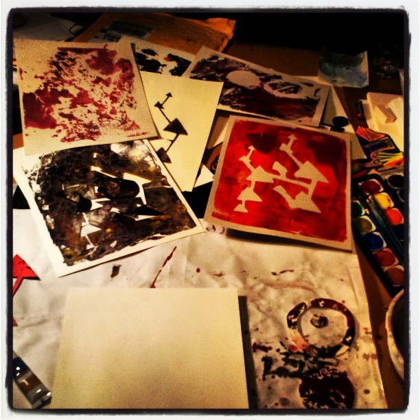 Making a mess again (I love my drafting table!) #print #acrylic #art
