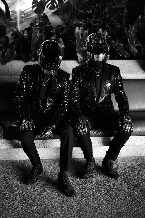 diordom:  French music duo Daft Punk captured by the lens of Mathieu César and styled with pieces from Saint Laurent for CR Fashion Book.