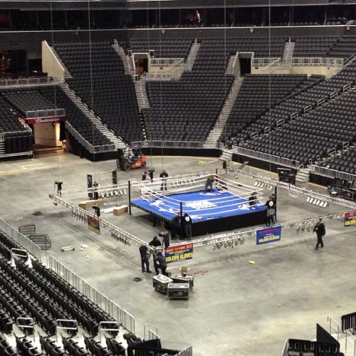 Setting up for the #GoldenGloves event tonight.  (at Barclays Center)