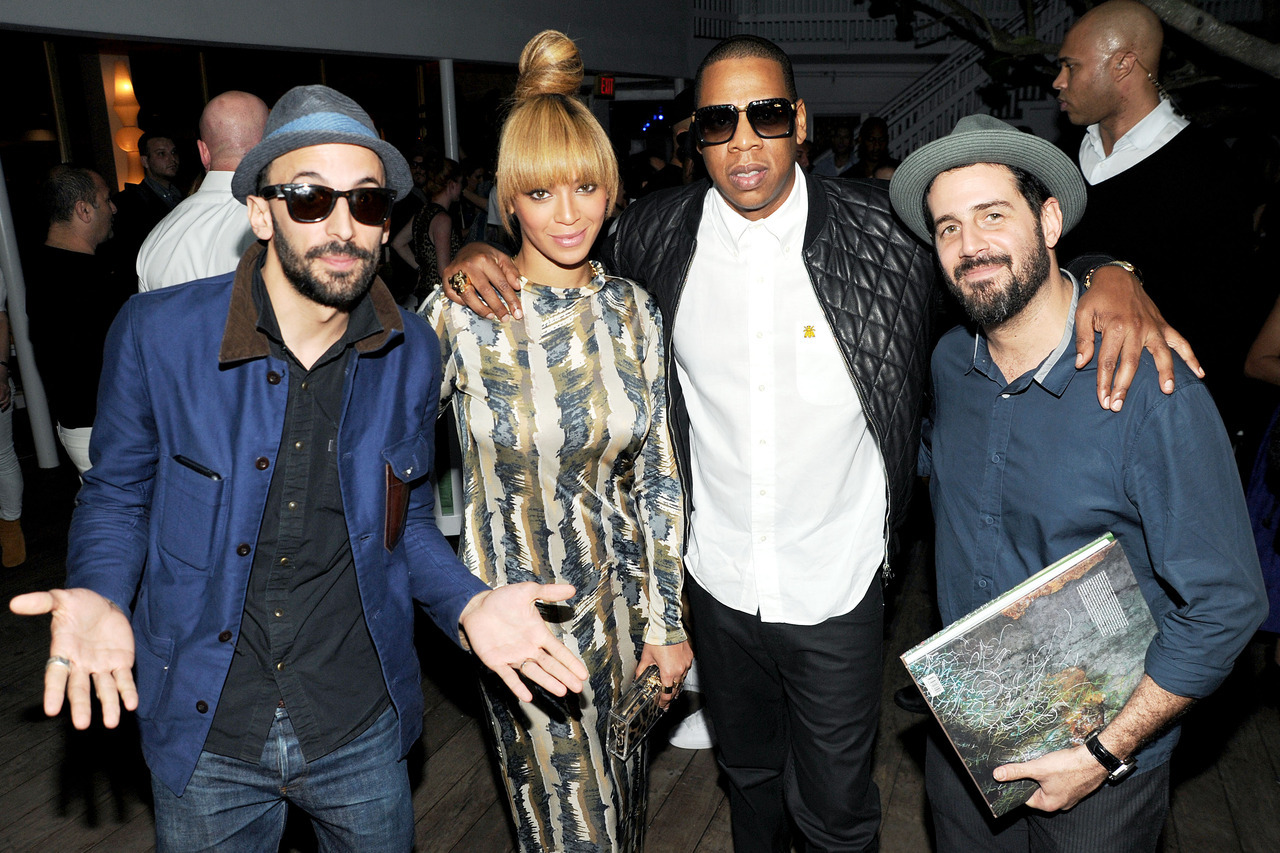 "JR, Beyonce, Jay Z, and Jose Parla at the Standard Press book launch for ""JR and Jose Parla : The Wrinkles of the City Havana, Cuba"" at The Standard Spa, Miami Beach.  Photo by BFA."