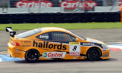 Honda Integra BTCC, Thruxton 2005, Dan Eaves. Eaves was the first driver to win all three races in one day at the punishing Thruxton meeting. The Team Dynamics Honda Integra has been one of the most successful and long-lived cars in touring car history, and Eaves' team mate Matt Neal would go on to win the championship later that year. (Photo from Team Dynamics' Facebook page)