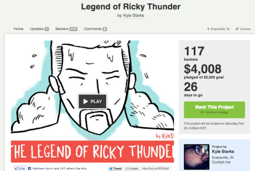 My Kickstarter to get Ricky Thunder printed has broken $4000 and that means that everyone is going to now get a FREE, all-new Ricky Thunder minicomic thrown in to their orders.   That's pretty awesome, right? I'm about to add a couple new stretch goals - and let's never forget the 8k stretch goal of a Ricky Thunder Wrestling Buddy.