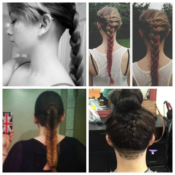 #undercut #braid #braids #braided #ponytail #napeshave #buzzedback #undershave #hairdesign #longhair ❤💋❤💋💋💋