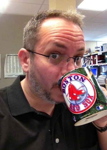 A rare actual (non-travel) mug at work today, in honor of today's Fenway home-opener.