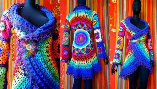 Crochet Coat - Purple Aztec Sun Mandala And Granny Squares on Flickr.