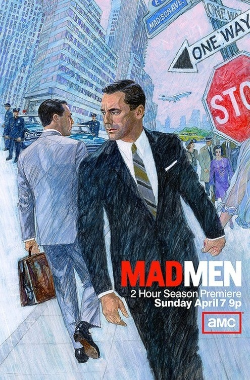 Mad Men, set in the art-directed world of 1960s advertising, does a retro illustration for the new season's poster.