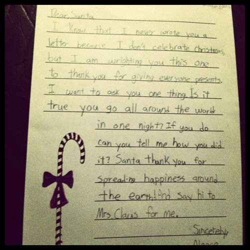 A Muslim 4th Grader's Letter to Santa. I love Reddit so much.