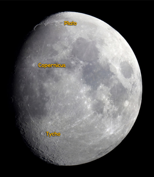 April 20: 74.7% illuminated waxing gibbous Moon near Regulus (mag 1.36) of Leo tonight. Use binoculars or a small telescope to find Plato, Copernicus and Tycho craters near the terminator line. Photo: Waxing Gibbous Moon by Thomas Bresson, Flickr (October 25, 2012)