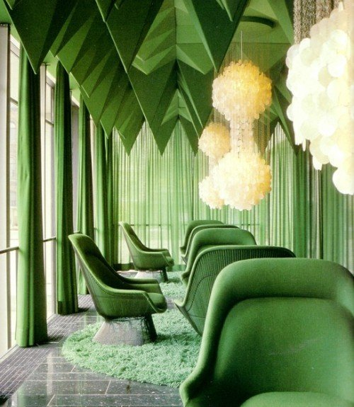 | redesignrevolution | Green draperies, sheers, and upholstery. Totally embracing Pantone's color of the year-Emerald.  xxDC