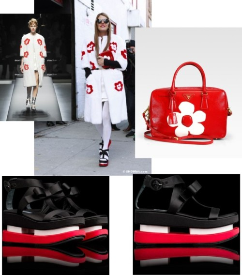 Anna dello Russo Prada look por show-bit con prada tote Prada satin wedge / Prada satin wedge / Prada  tote / PRADA SPRING-SUMMER/2013 - Page 1 / FASHION DIARY Anna dello Russo at FW/2013 Shows.