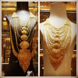 Let's drool together over the display of sheer gold and wealth #gold #dubai #souk #jewelry #wealth #precious #extravagant #necklace #shopping #vacation