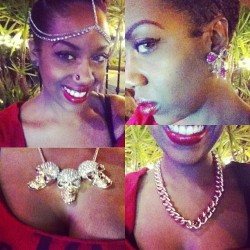 "As usual rocking beautiful jewelry by my boo @hauteboutique7 Angel ""Poetic Justice"" :) www.hauteboutique.bigcartel.com < Get you some! Lol :)"