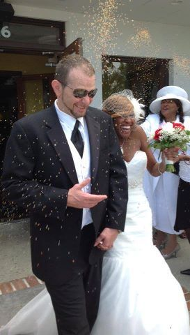 interraciallove254:  Ashley and her husband on their big day.