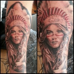 Work from the other day by jimmy. #hellspawn #custom #tattoo #oslo #norway #realistic #female #face #hair #fluffy #color #warpaint. Thanks to my customer for a fun project. (ved hellspawn custom tattoo)