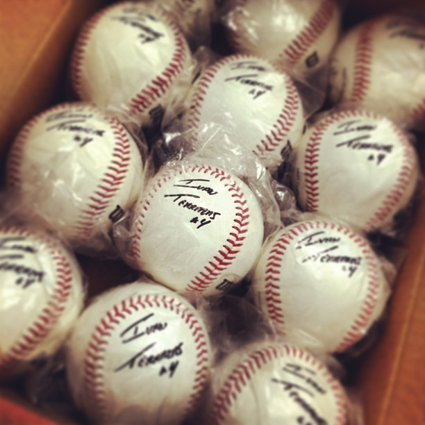 Kicking off autographed baseballs promo shortly