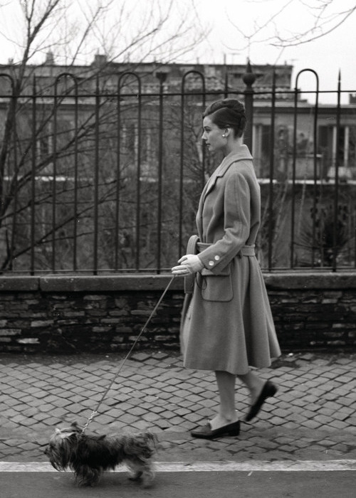 dearfawndoe:  Audrey Hepburn walking her dog Mr. Famous in Rome, 1959.